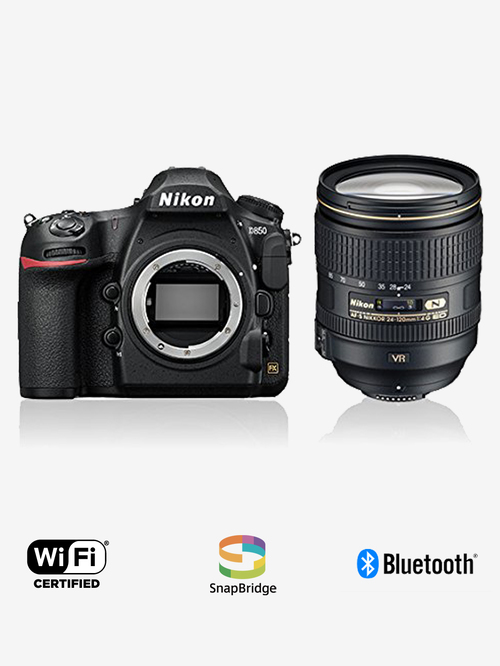Nikon D850  with AF S NIKKOR 24 120MM F/4G ED VR Lens  45.7 MP DSLR Camera with 64 GB SD card  Black