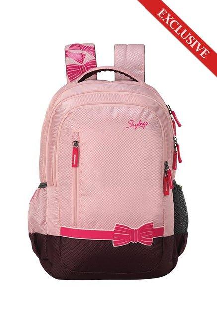c214ef86634f Skybags Bingo Plus 06 Baby Pink   Dark Brown Printed Polyester Backpack