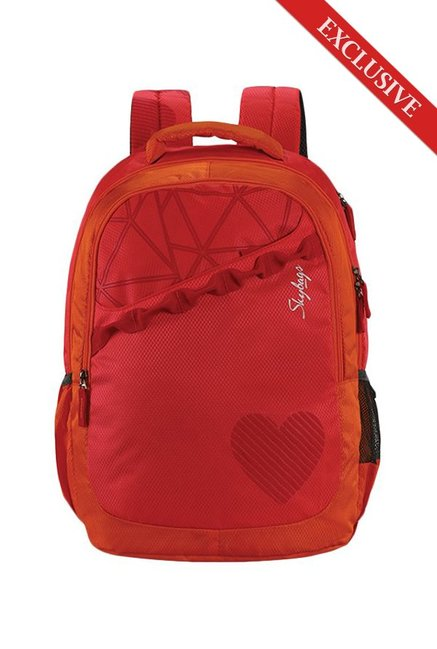 b2ae5ccd21db Buy Skybags Bingo 02 Pink   Orange Printed Polyester Backpack Online At  Best Price   Tata CLiQ