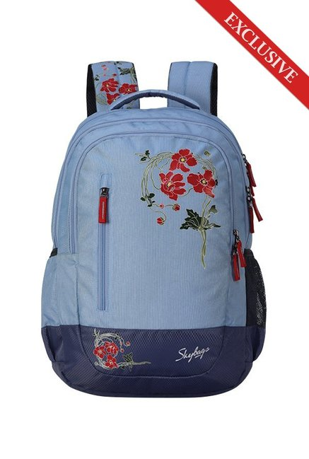 3eceaf850f65 Buy Skybags Bingo Plus 06 Sky Blue   Navy Floral Polyester Backpack Online  At Best Price   Tata CLiQ