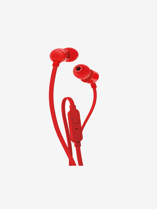 Jbl Tune T110 Wired Earphones With Mic  Red