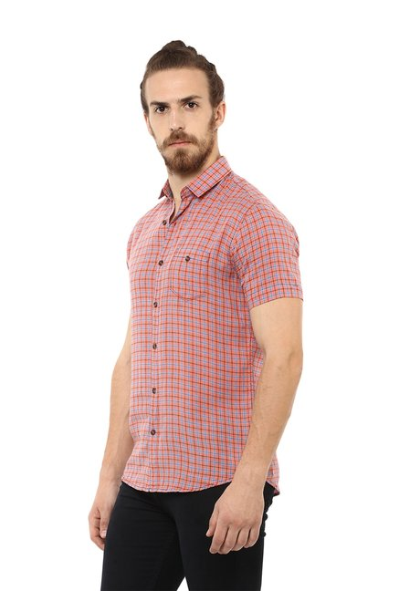 1573ee05 Buy Mufti Red Half Sleeves Checks Shirt for Men Online @ Tata CLiQ