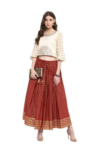66b71e1344 Buy Varanga Off White & Red Printed Crop Top With Skirt for Women Online @  Tata CLiQ