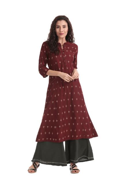 f356a2f7c8 Buy Anahi Maroon Printed Cotton Flared Kurta for Women Online @ Tata CLiQ