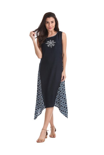 23fbeaec1eb5 Buy Bronz Navy Embroidered Below Knee Dress for Women Online   Tata CLiQ