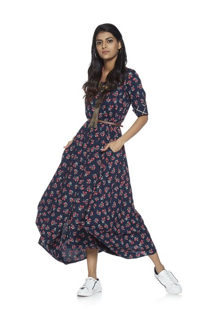e3d83cc0764 Buy Bombay Paisley by Westside Indigo Dipped Hem Floral Dress for Women  Online   Tata CLiQ
