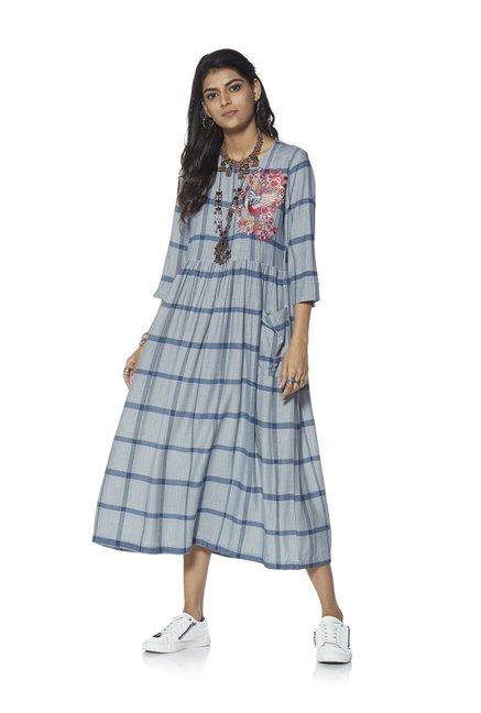 c6b643cb9bf Bombay Paisley by Westside Blue Fit-And-Flare Checked Dress
