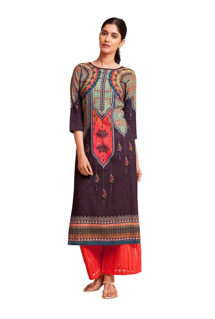 73cd1f3121 Buy Naari Maroon Printed Viscose Kurta for Women Online @ Tata CLiQ