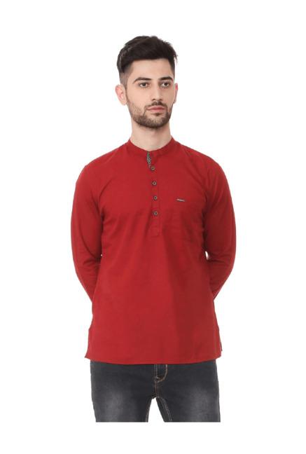 Peter England Red Mandarin Collar Cotton Kurta