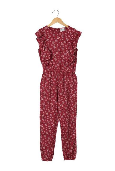 Buy Cherokee Kids Maroon Printed Jumpsuit For Girls Clothing Online