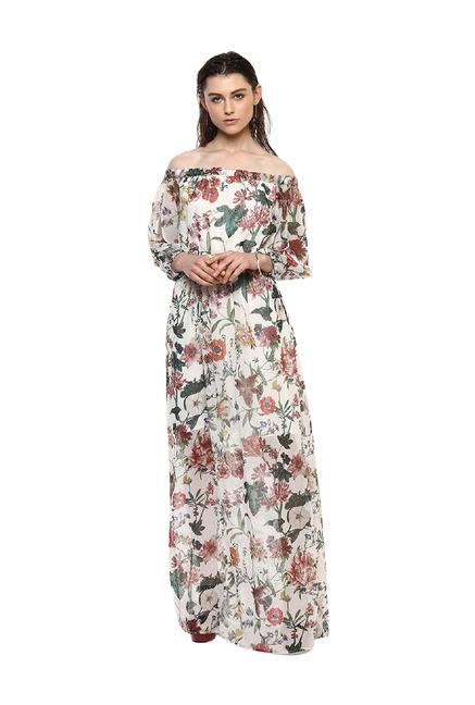 38363f8dc2aa Buy Kazo Off White Floral Print Maxi Dress for Women Online @ Tata ...