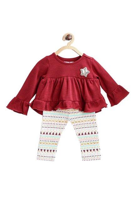 73fe069bb07a Buy Nauti Nati Kids Maroon   White Textured Top for Infant Girls Clothing  Online   Tata CLiQ