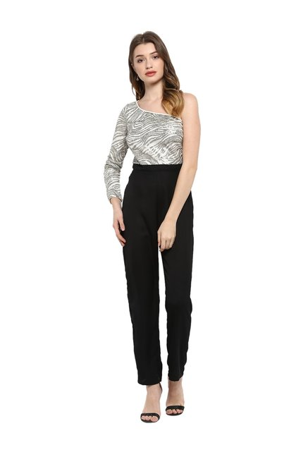 7a0c1ec313b Buy Kazo Grey   Black Embellished Full Length Jumpsuit for Women Online   Tata  CLiQ