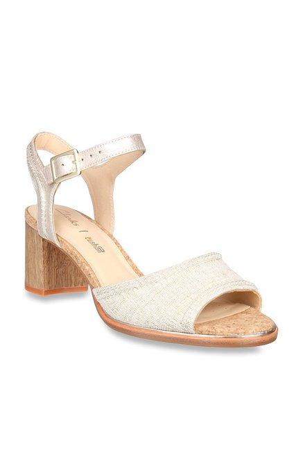 bffc42e71c92 Clarks Ellis Clara Beige   Golden Ankle Strap Sandals