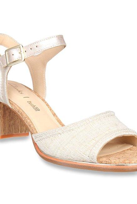 43ea72e0861c Clarks Ellis Clara Beige   Golden Ankle Strap Sandals