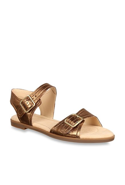 ef2d79048ec Clarks Bay Primrose Antique Gold Ankle Strap Sandals