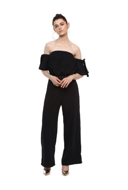 7ce7bf6b732 Buy Kazo Black Full Length Jumpsuit for Women Online   Tata CLiQ