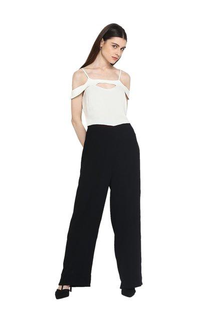6f03761423a Buy Kazo White   Black Full Length Jumpsuit for Women Online   Tata CLiQ