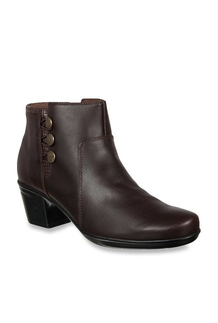 ec7a1417ddf Buy Clarks Emslie Monet Dark Brown Booties for Women at Best Price   Tata  CLiQ