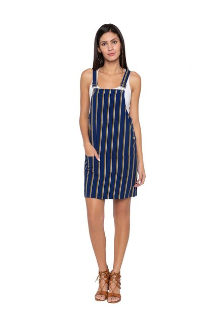 distinctive design buy popular offer discounts Buy Globus Navy Striped Above Knee Dungaree Dress for Women ...