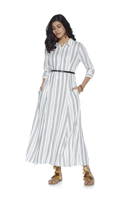 6104c4b00 LOV by Westside White Anja Striped Shirtdress With Belt