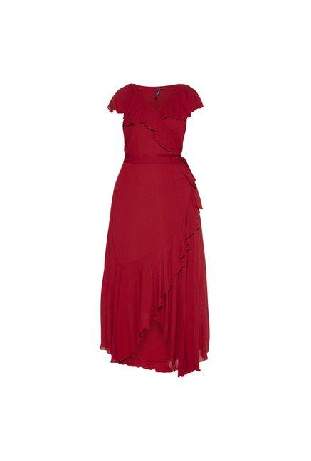 9bdbac1243 Buy LOV by Westside Red Bria Ruffled Dress for Women Online @ Tata CLiQ