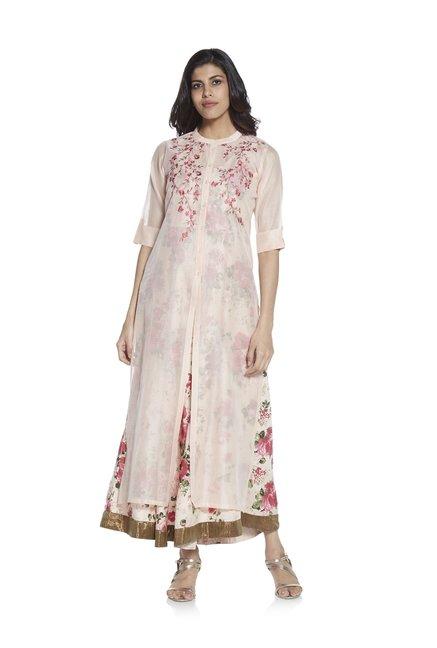 6e6e8328f Buy Vark by Westside Peach Kurta With Floral Print Maxi Dress for Women  Online @ Tata CLiQ