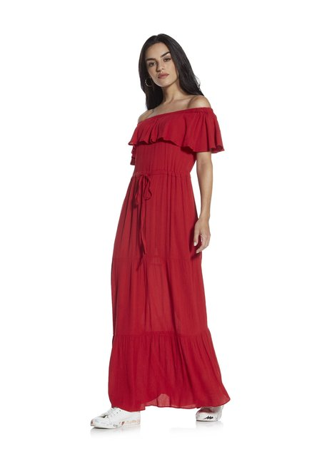 ba40d1161209 Buy Nuon by Westside Red Off-The-Shoulder Dress for Women Online   Tata CLiQ
