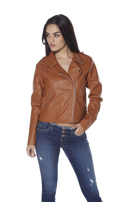 a0d1520624efe Buy Nuon by Westside Tan Leo Faux Leather Jacket for Women ...