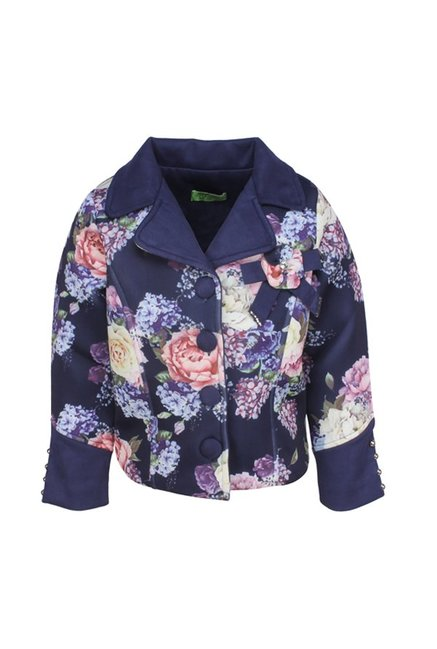 451cbf75e998 Buy Cutecumber Kids Navy Floral Print Coat for Girls Clothing Online ...