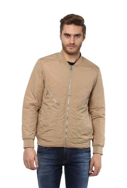 2bba6776a Buy Mufti Khaki Slim Fit Bomber Jacket for Men Online @ Tata CLiQ