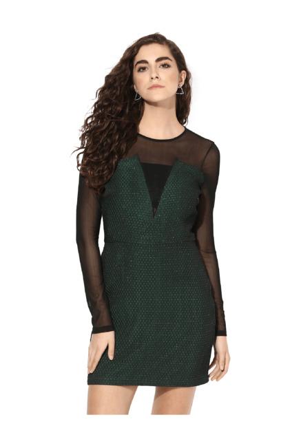 9d896a635a7 Buy Kazo Green   Black Lace Above Knee Dress for Women Online   Tata CLiQ