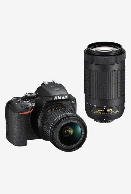 Nikon D3500 (AF-P DX 18-55mm/70-300mm ED VR Lens) DSLR Camera with 16GB Card and Carry Case (Black)