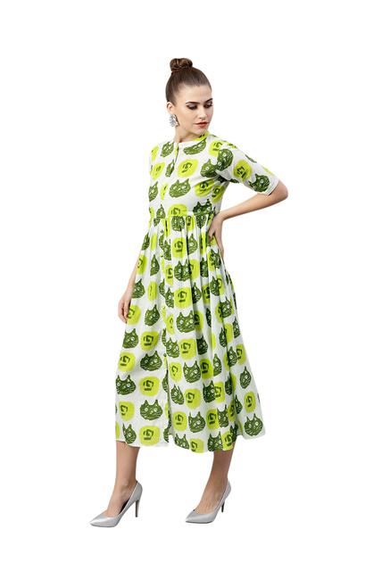 26b959d6f14f Buy Gerua Green Printed Cotton Midi Dress for Women Online   Tata ...