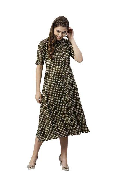 0d1f7bf8a59 Buy Gerua Brown Checks Midi Dress for Women Online   Tata CLiQ
