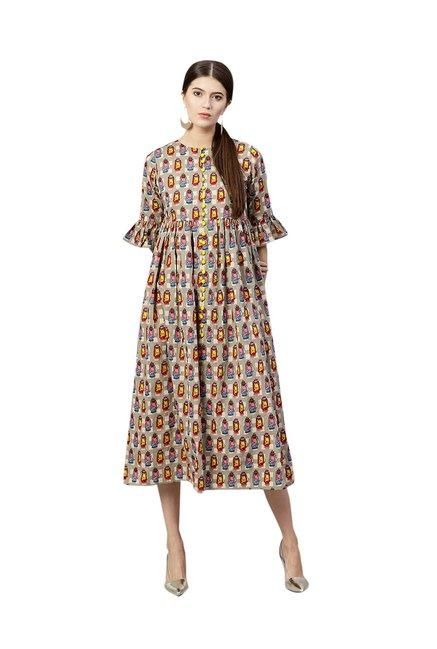 262b5b629a3c Buy Gerua Grey Printed Cotton Midi Dress for Women Online   Tata ...