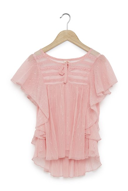 1ed1f6022f2 Buy Y&F Kids by Westside Pink Shimmering Ruffle Grace Top for Girls ...