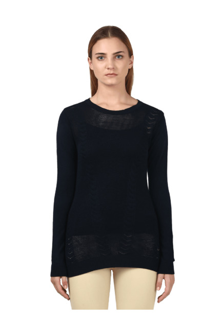 5390dcb8ab Buy Park Avenue Navy Lace Sweater for Women Online   Tata CLiQ