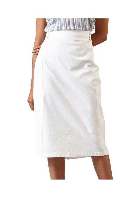 7896489538b9 Buy Fable Street White Below Knee High Waist Pencil Skirt for Women ...
