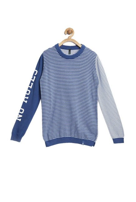 b462935501 Buy United Colors of Benetton Kids Blue & White Striped Sweater for Boys  Clothing Online @ Tata CLiQ