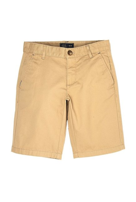 08f838c6 Buy Indian Terrain Kids Light Khaki Solid Shorts for Boys Clothing ...