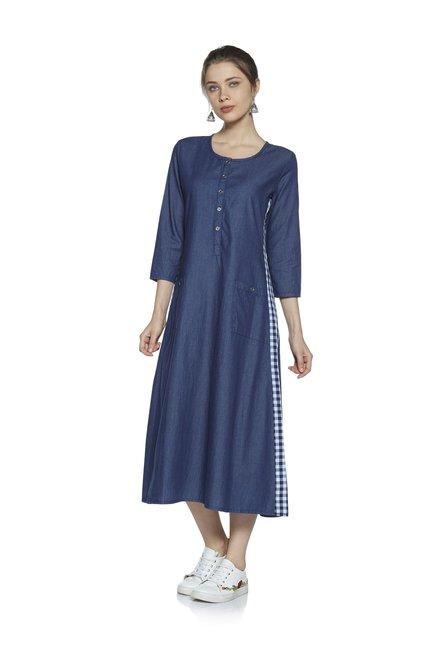 30b5737a47a5d7 Zudio Indigo Aisha A-Line Denim Pure Cotton Dress Image