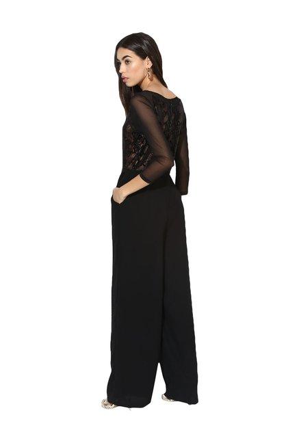 c9fd1877506 Buy Kazo Black V-Neck Jumpsuit for Women Online   Tata CLiQ