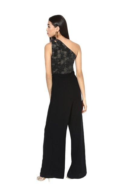 839bf6d00a9 Buy Kazo Black One Shoulder Jumpsuit for Women Online   Tata CLiQ