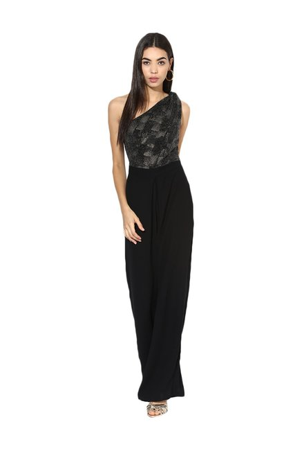 0c1664979c2 Buy Kazo Black One Shoulder Jumpsuit for Women Online   Tata CLiQ