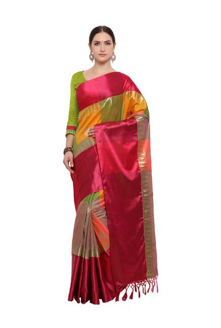 a7b83f45e57191 Buy Varkala Silk Sarees Orange   Green Silk Saree With Blouse for ...