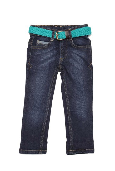 1c6eb64b527 Buy United Colors of Benetton Kids Navy Solid Jeans With Belt for Boys  Clothing Online   Tata CLiQ
