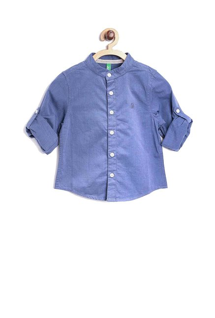 b517e5a77 Buy United Colors of Benetton Kids Blue Solid Shirt for Boys Clothing  Online   Tata CLiQ