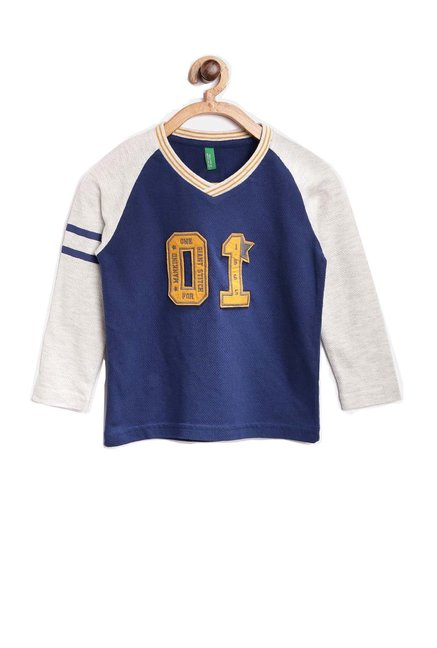 2ab058e36 Buy United Colors of Benetton Kids Blue Solid T-Shirt for Boys Clothing  Online   Tata CLiQ