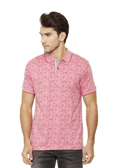 abfc34c9 Buy Allen Solly Pink Regular Fit Printed Polo T-Shirt for Men Online ...